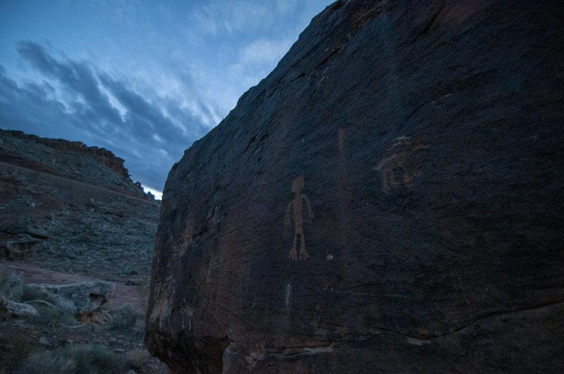 Rock Climbing Photo: indian man boulder at night