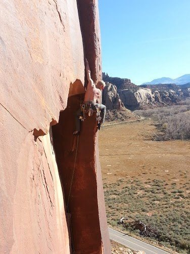 Rock Climbing Photo: Climber pulling a roof at Indian Creek