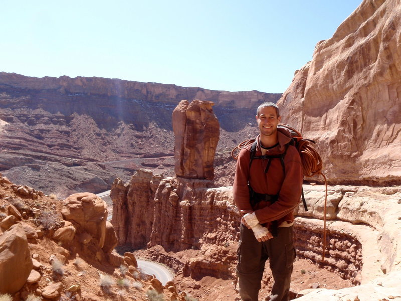Rock Climbing Photo: A big smile after my first desert tower.  Three pe...