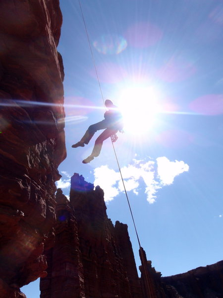 Rock Climbing Photo: Rappelling off Standing Rock AKA The Totem Pole, i...