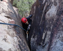 Rock Climbing Photo: Gail is pulling pro on the first pitch. I must hav...