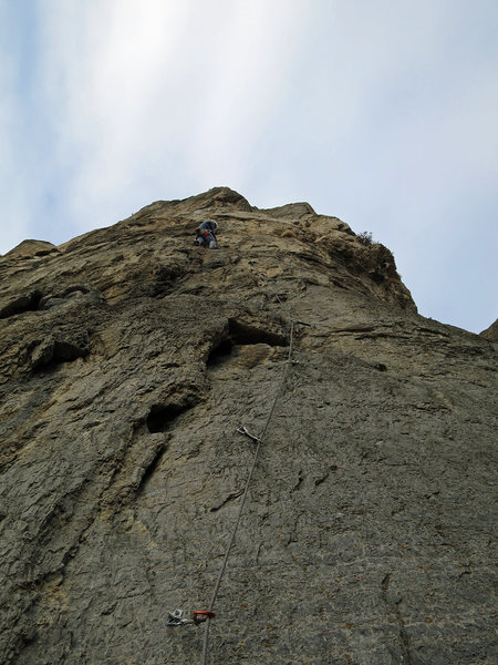 Rock Climbing Photo: Truman, heading up in January with cold hands, wis...