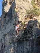 Rock Climbing Photo: Perin just past the roof on Taken
