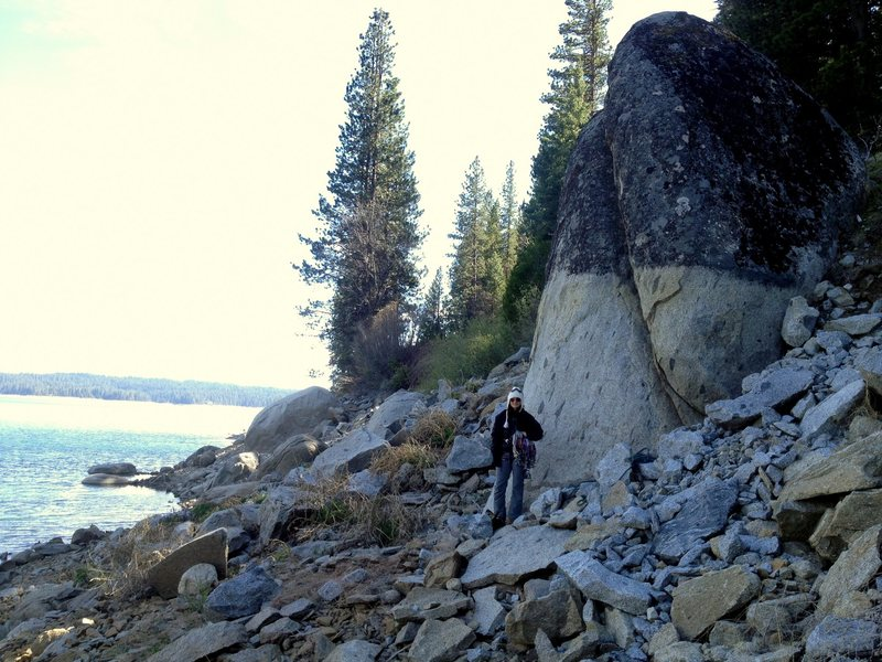 Wendy Hurtado standing at the base of Rise Again Rock in Shaver Lake, California.
