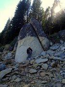 Rock Climbing Photo: Wendy Hurtado at the base of Rise Again Rock, Apri...
