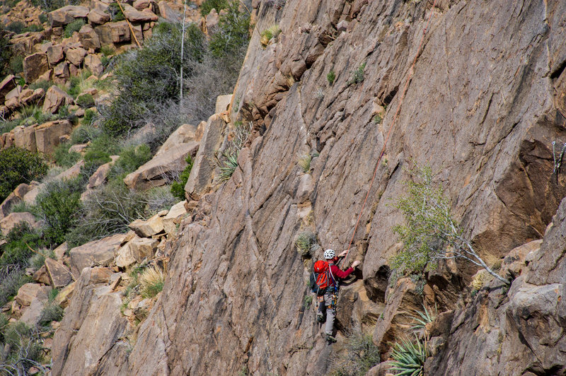 Scott leading the FA ascent on New Patriot, Old Soldier on Sycamore Wall.