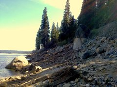 Rock Climbing Photo: Rise Again Rock on the shore of Shaver Lake, Calif...