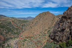 Rock Climbing Photo: A view from the wall of the approach gully and hik...