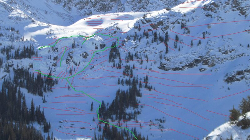 Red - avalanche terrain and start zones.<br> Green - approach and descent routes.