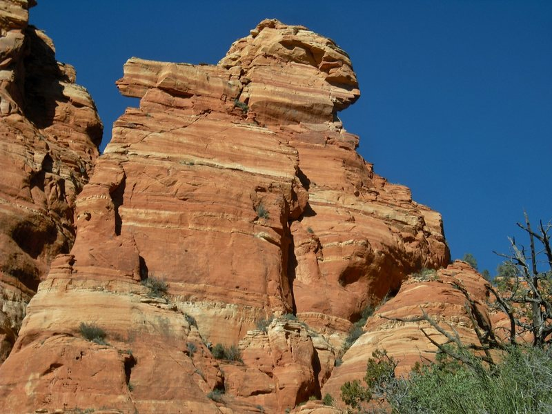 Rock Climbing Photo: Brown Power Tower from the approach. The route hea...