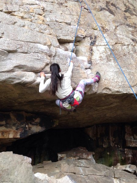 Rock Climbing Photo: Premarital drilling 5.10b - great crux start