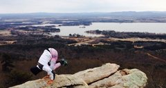 Rock Climbing Photo: A little yoga break at sandrock lookout