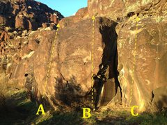 Rock Climbing Photo: Star Boulder A) Star Bulge V1 B) Star Right V1 C) ...
