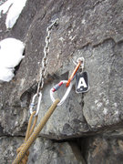 Rock Climbing Photo: Dunce anchor. Most of the tags are gone now, but t...
