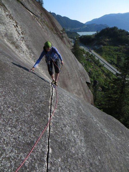 Rock Climbing Photo: Jessica coming up the 2nd ( original start ) pitch...