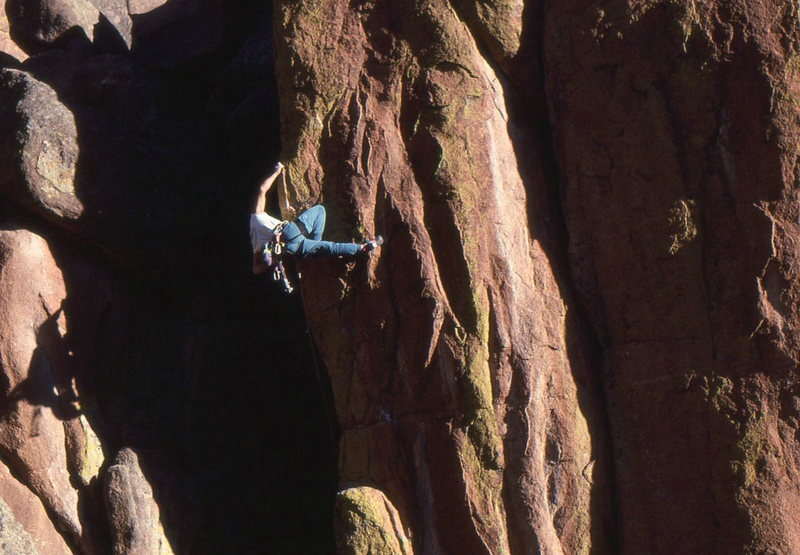 We called this the Figure 4 Flag move, this is the only way I could let go to clip the crux bolt.
