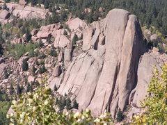Rock Climbing Photo: Scorpio Dome massif as seen from Balanced Rock roa...