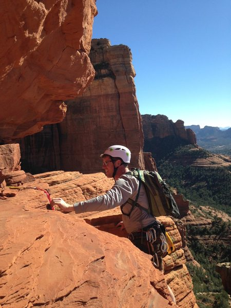 Matt just below the summit block on Goliath in Sedona, AZ.