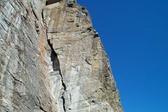 Rock Climbing Photo: Climber nearing the top of the Dihedral.  I've nev...