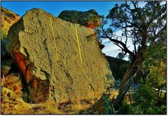 Rock Climbing Photo: Twerp Skillet problem beta in yellow.