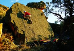 Rock Climbing Photo: Moving up the slab problem Tactile Style.