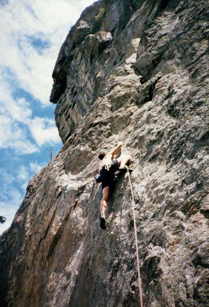 Rock Climbing Photo: Jason Henrie climbing at the Bat Caves, ca. 1995