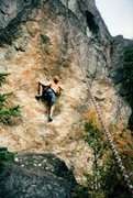 Rock Climbing Photo: Toproping on The Triangle boulder, ca. 1995