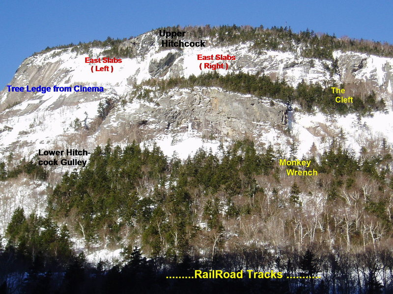 "East Face - Some Climbs on Both ""Lower"" and ""Upper"" are shown"