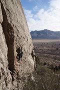 Rock Climbing Photo: Heading up the crimpy crux of Ho-Ho!