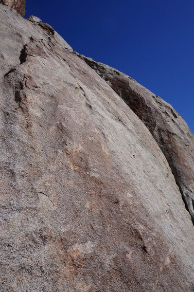 The view of Big Time Direct from the anchors of Big Time (end of pitch 3).  The bolt down low and right is the first bolt of the route.