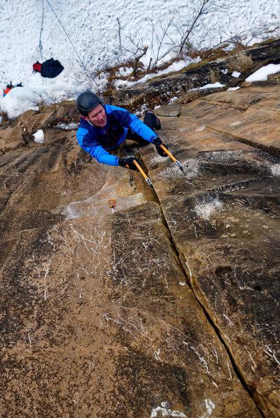 Winter crack climbing on The Seam.
