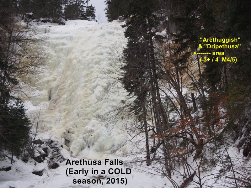 Overview of Arethusa Falls<br>    Jan 21, 2015