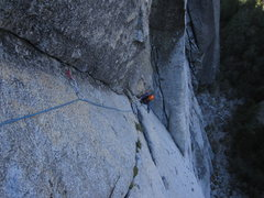 Rock Climbing Photo: 2nd approach pitch. Silk Road corner is visible in...