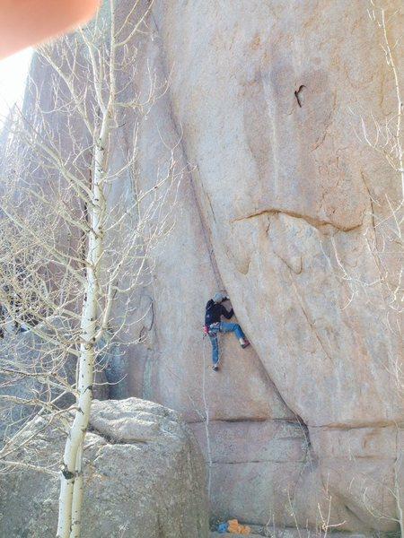 Rock Climbing Photo: Ken battling the start.
