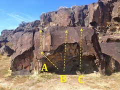 Rock Climbing Photo: Fire Boulder: A) Escape Route V1 B) Fire in the Ho...