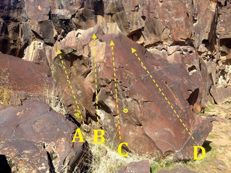 Rock Climbing Photo: Sweet Pea Boulder: A) Chucky V3 B) Sweet Pea V0 C)...