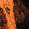 Ed starts up the route for <br> an evening cool down<br> The Big Flake (5.10)