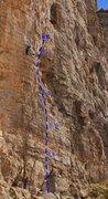 Rock Climbing Photo: Stone of Sisyphus Topo - Climber is on The Iliad