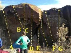 Rock Climbing Photo: Cobra Main: A) Snatch Bar V4 B) King Cobra V3 C) C...