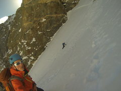 Brian traversing into the Chaos Couloir about 2/3 of the way up.