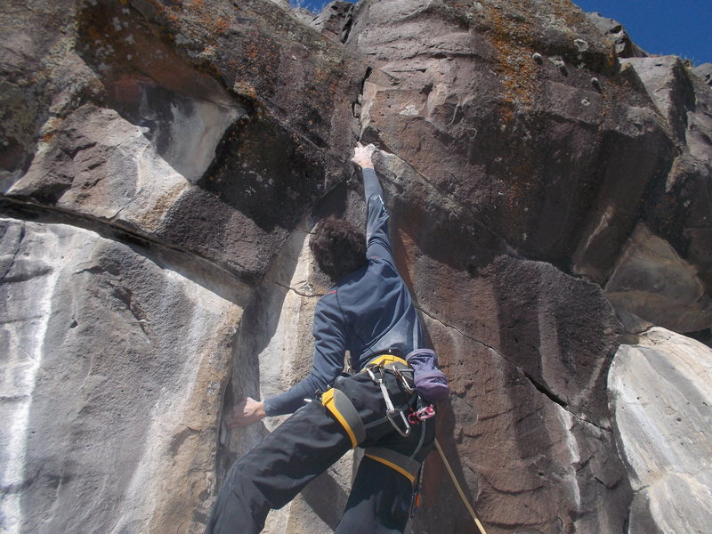 Rock Climbing Photo: The undercling to the left is on.