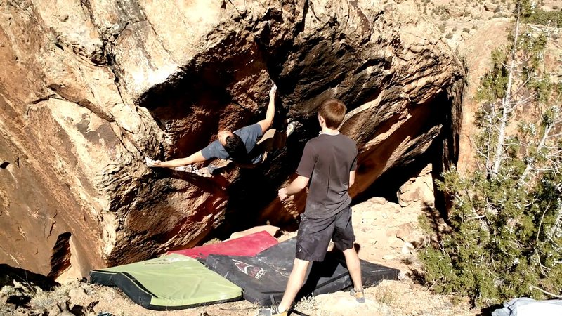 Rock Climbing Photo: Fun movement after the crux.
