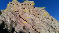 Rock Climbing Photo: Basic view from the road of the south faces of Red...