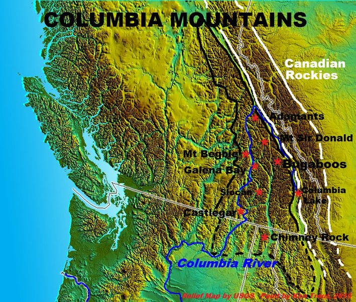 Rock Climbing Photo: The name Columbia Mountains stops at the American ...