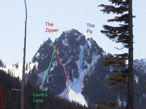 Three primary winter routes on Lane peak.