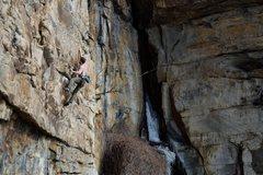 Rock Climbing Photo: Hitting the second deadpoint/dyno on Hasta la Vist...