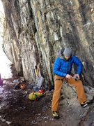 Rock Climbing Photo: Sharpening the 'poons at the base of Furry Thang, ...