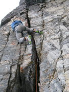 Rock Climbing Photo: Mike Arnold in the middle of the DIngleberry Crack...