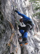 Rock Climbing Photo: Shane Johnson figuring out the footwork on Furry T...