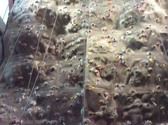 Rock Climbing Photo: The bottom of the tall wall, tons of routes all ov...